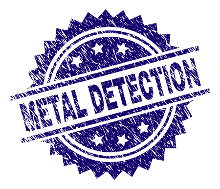 METAL DETECTION stamp seal watermark with distress style. Blue vector rubber print of METAL DETECTION title with corroded texture.