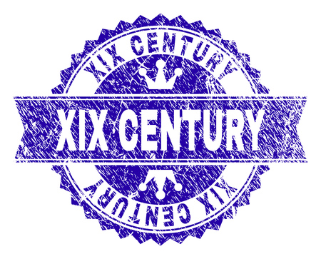 XIX CENTURY rosette stamp seal watermark with distress texture. Designed with round rosette, ribbon and small crowns. Blue vector rubber watermark of XIX CENTURY caption with unclean texture. Illustration