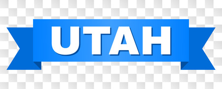 UTAH text on a ribbon. Designed with white title and blue tape. Vector banner with UTAH tag on a transparent background.
