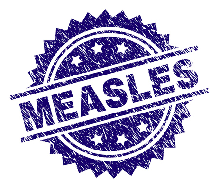 MEASLES stamp seal watermark with distress style. Blue vector rubber print of MEASLES caption with unclean texture. Illustration