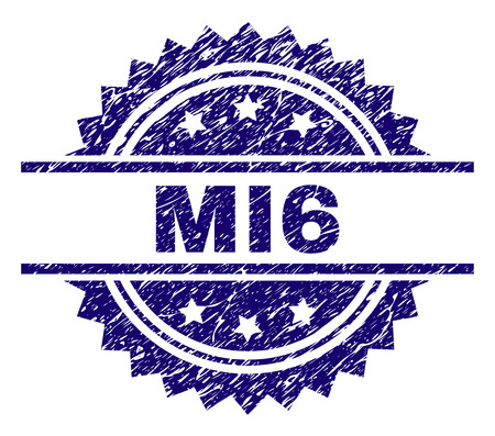 MI6 stamp seal watermark with distress style. Blue vector rubber print of MI6 tag with grunge texture.