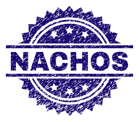 NACHOS stamp seal watermark with distress style. Blue vector rubber print of NACHOS caption with dust texture. Vector Illustration