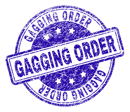 GAGGING ORDER stamp seal imprint with distress texture. Designed with rounded rectangles and circles. Blue vector rubber print of GAGGING ORDER text with unclean texture. Illustration