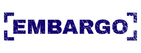 EMBARGO title seal print with corroded texture. Text title is placed inside corners. Blue vector rubber print of EMBARGO with grunge texture.