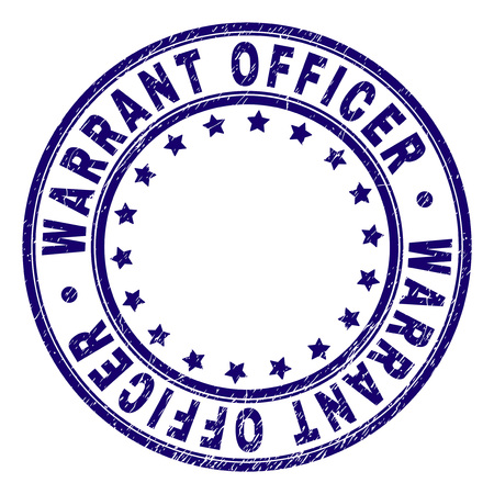 WARRANT OFFICER stamp seal watermark with distress texture. Designed with round shapes and stars. Blue vector rubber print of WARRANT OFFICER label with dust texture.