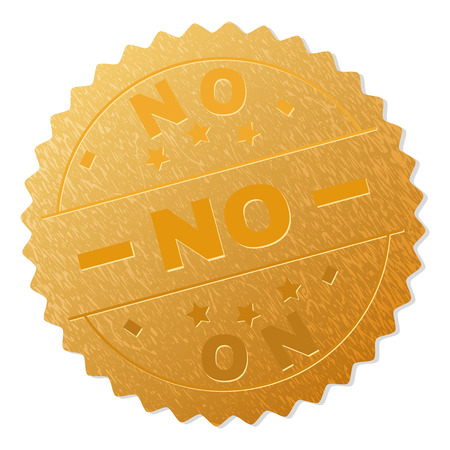 NO gold stamp award. Vector golden award with NO text. Text labels are placed between parallel lines and on circle. Golden surface has metallic texture. Illustration
