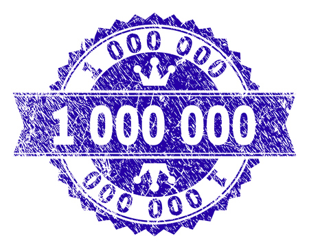 1000000 rosette stamp watermark with distress style. Designed with round rosette, ribbon and small crowns. Blue vector rubber print of 1000000 label with dirty style. Vector Illustration