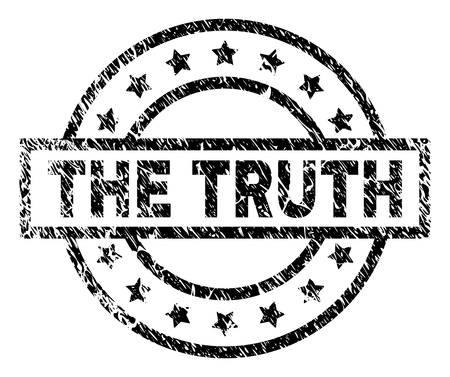 THE TRUTH stamp seal watermark with distress style. Designed with rectangle, circles and stars. Black vector rubber print of THE TRUTH caption with corroded texture. Illustration