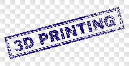 3D PRINTING stamp seal print with rubber print style and double framed rectangle shape. Stamp is placed on a transparent background. Blue vector rubber print of 3D PRINTING text with unclean texture.