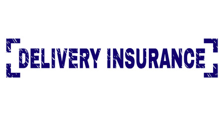 DELIVERY INSURANCE caption seal watermark with corroded style. Text caption is placed inside corners. Blue vector rubber print of DELIVERY INSURANCE with corroded texture.