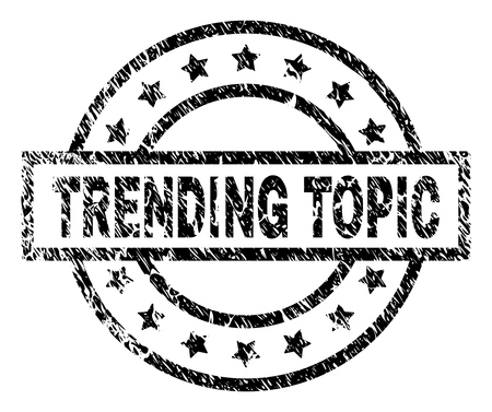 TRENDING TOPIC stamp seal watermark with distress style. Designed with rectangle, circles and stars. Black vector rubber print of TRENDING TOPIC label with retro texture. Illusztráció
