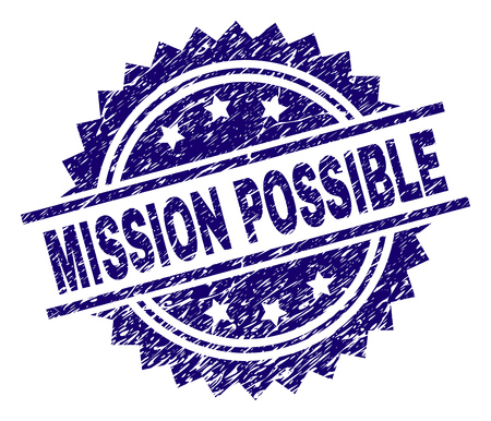 MISSION POSSIBLE stamp seal watermark with distress style. Blue vector rubber print of MISSION POSSIBLE text with unclean texture.