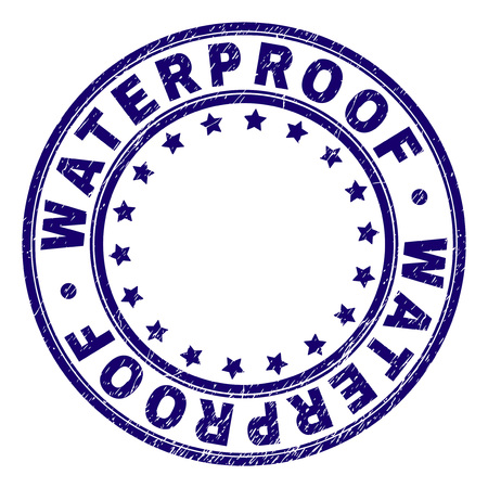 WATERPROOF stamp seal watermark with grunge texture. Designed with round shapes and stars. Blue vector rubber print of WATERPROOF text with unclean texture.