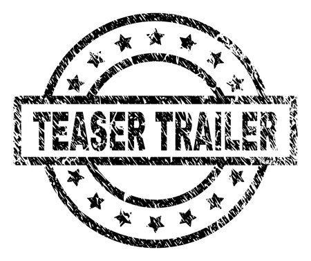 TEASER TRAILER stamp seal watermark with distress style. Designed with rectangle, circles and stars. Black vector rubber print of TEASER TRAILER tag with dirty texture.