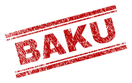 BAKU seal imprint with grunge effect. Red vector rubber print of BAKU text with corroded texture. Text caption is placed between double parallel lines.