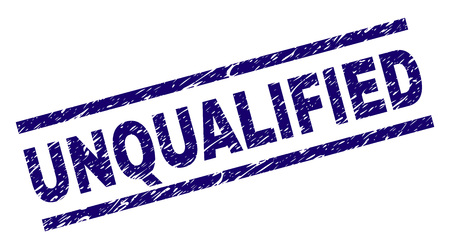 UNQUALIFIED seal print with grunge style. Blue vector rubber print of UNQUALIFIED text with unclean texture. Text title is placed between parallel lines.