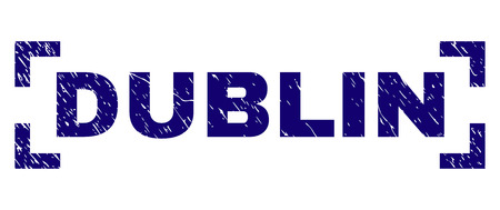 DUBLIN title seal print with distress texture. Text title is placed between corners. Blue vector rubber print of DUBLIN with dirty texture.