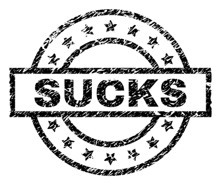SUCKS stamp seal watermark with distress style. Designed with rectangle, circles and stars. Black vector rubber print of SUCKS tag with scratched texture. Illustration
