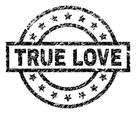 TRUE LOVE stamp seal watermark with distress style. Designed with rectangle, circles and stars. Black vector rubber print of TRUE LOVE title with corroded texture.