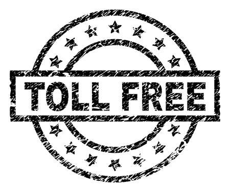 TOLL FREE stamp seal watermark with distress style. Designed with rectangle, circles and stars. Black vector rubber print of TOLL FREE text with retro texture.