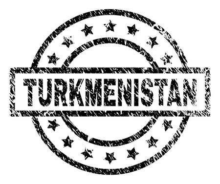 TURKMENISTAN stamp seal watermark with distress style. Designed with rectangle, circles and stars. Black vector rubber print of TURKMENISTAN text with retro texture.
