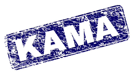 KAMA stamp seal print with grunge texture. Seal shape is a rounded rectangle with frame. Blue vector rubber print of KAMA title with dust texture.