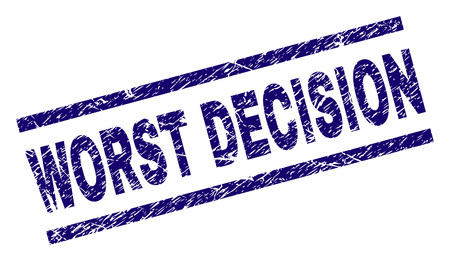 WORST DECISION seal watermark with scratced style. Blue vector rubber print of WORST DECISION tag with unclean texture. Text tag is placed between parallel lines.