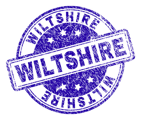 WILTSHIRE stamp seal imprint with grunge texture. Designed with rounded rectangles and circles. Blue vector rubber print of WILTSHIRE caption with grunge texture. Illustration