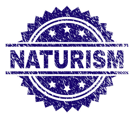 NATURISM stamp seal watermark with distress style. Blue vector rubber print of NATURISM caption with scratched texture. Illustration