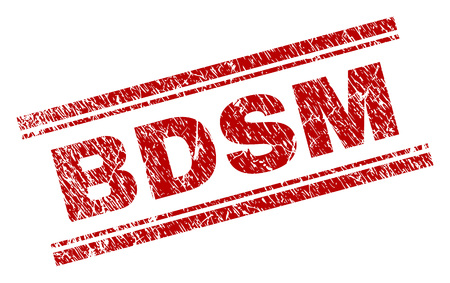 BDSM seal print with grunge style. Red vector rubber print of BDSM text with dirty texture. Text label is placed between double parallel lines.