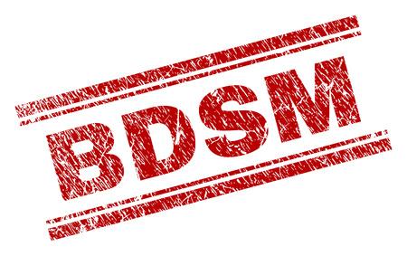 Stampa sigillo BDSM con stile grunge. Stampa in gomma rossa di vettore del testo BDSM con trama sporca. L'etichetta di testo è posizionata tra doppie linee parallele.