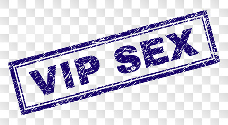 VIP SEX stamp seal watermark with rubber print style and double framed rectangle shape. Stamp is placed on a transparent background. Blue vector rubber print of VIP SEX title with dust texture.