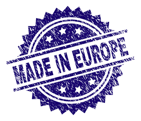 MADE IN EUROPE stamp seal watermark with distress style. Blue vector rubber print of MADE IN EUROPE text with scratched texture. Illustration