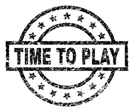 TIME TO PLAY stamp seal watermark with distress style. Designed with rectangle, circles and stars. Black vector rubber print of TIME TO PLAY label with dust texture.