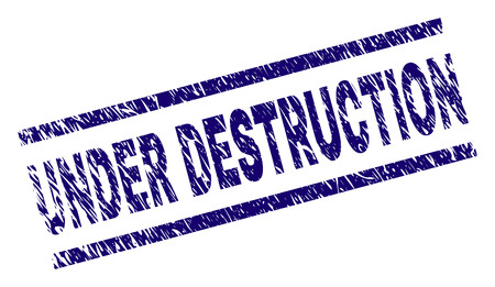 UNDER DESTRUCTION seal print with distress style. Blue vector rubber print of UNDER DESTRUCTION text with grunge texture. Text label is placed between parallel lines.
