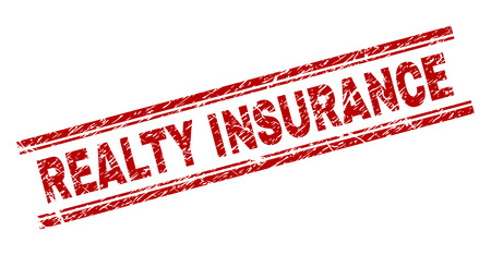 REALTY INSURANCE seal print with corroded texture. Red vector rubber print of REALTY INSURANCE caption with dust texture. Text title is placed between double parallel lines. Illustration