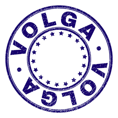 VOLGA stamp seal watermark with grunge style. Designed with circles and stars. Blue vector rubber print of VOLGA title with grunge texture.