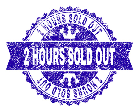 2 HOURS SOLD OUT rosette seal imprint with distress texture. Designed with round rosette, ribbon and small crowns. Blue vector rubber print of 2 HOURS SOLD OUT label with grunge texture. Illustration