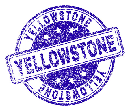 YELLOWSTONE stamp seal imprint with grunge texture. Designed with rounded rectangles and circles. Blue vector rubber print of YELLOWSTONE title with retro texture. Иллюстрация