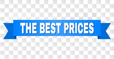 THE BEST PRICES text on a ribbon. Designed with white caption and blue tape. Vector banner with THE BEST PRICES tag on a transparent background.