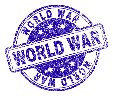 WORLD WAR stamp seal watermark with distress texture. Designed with rounded rectangles and circles. Blue vector rubber print of WORLD WAR text with dust texture.