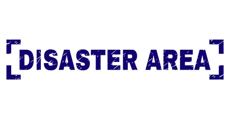 DISASTER AREA tag seal imprint with distress texture. Text tag is placed inside corners. Blue vector rubber print of DISASTER AREA with scratched texture.