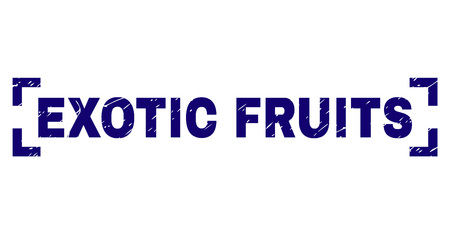 EXOTIC FRUITS caption seal print with grunge style. Text caption is placed inside corners. Blue vector rubber print of EXOTIC FRUITS with unclean texture.