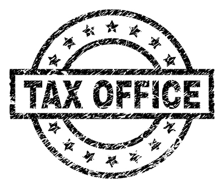 TAX OFFICE stamp seal watermark with distress style. Designed with rectangle, circles and stars. Black vector rubber print of TAX OFFICE text with corroded texture.