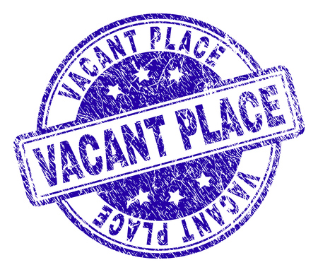 VACANT PLACE stamp seal watermark with grunge effect. Designed with rounded rectangles and circles. Blue vector rubber print of VACANT PLACE tag with grunge texture.