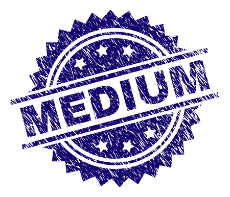 MEDIUM stamp seal watermark with distress style. Blue vector rubber print of MEDIUM text with dirty texture.
