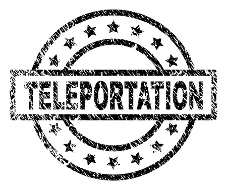 TELEPORTATION stamp seal watermark with distress style. Designed with rectangle, circles and stars. Black vector rubber print of TELEPORTATION caption with retro texture. Illustration