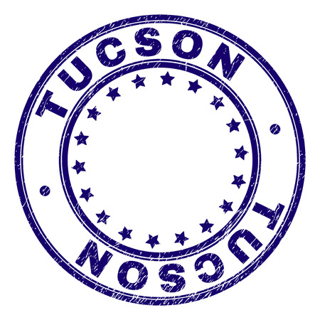 TUCSON stamp seal watermark with grunge texture. Designed with circles and stars. Blue vector rubber print of TUCSON tag with corroded texture.
