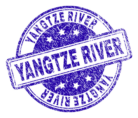 YANGTZE RIVER stamp seal watermark with grunge texture. Designed with rounded rectangles and circles. Blue vector rubber print of YANGTZE RIVER caption with corroded texture.