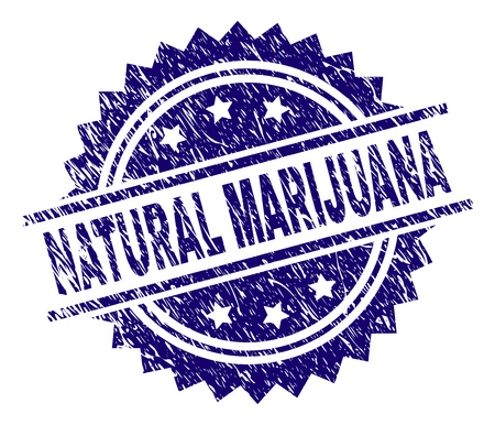 NATURAL MARIJUANA stamp seal watermark with distress style. Blue vector rubber print of NATURAL MARIJUANA caption with dirty texture.